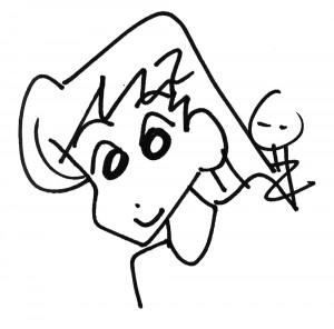 Dibujín con el que Usui me dedicó uno de los tomos de Tsukimi-san