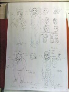 Los diseños de personajes del capítulo de Shin Chan visita Barcelona. La de la arriba a la izquierda es Vero, y a su lado estoy yo XD