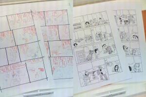 Diseños provisionales y las páginas originales del capítulo en el que Shin Chan visita Barcelona